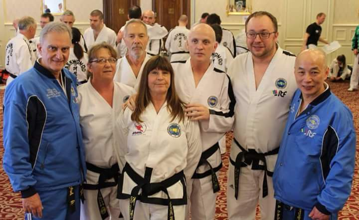 Dorchester martial arts students training with the Grand Masters